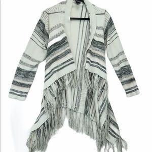 Torrid 1x white grey blanket cardigan with fringe